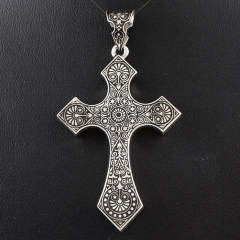 Large Antique Astro Hungarian Silver And Niello Cross Pendant